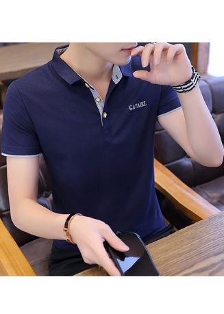 Grey color T-Shirts and Polos . Casual Fitted Collared T-Shirt -