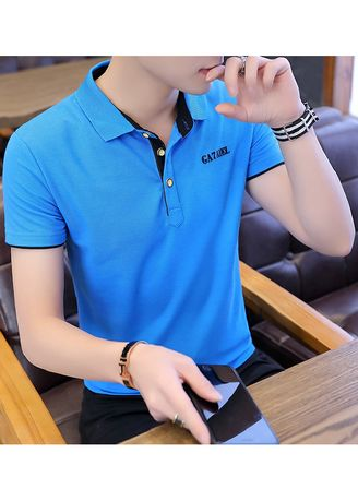 Blue color T-Shirts and Polos . Solid Colour Slim Fit T-Shirt -
