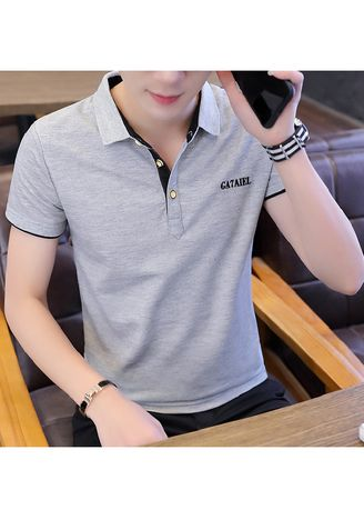 Grey color T-Shirts and Polos . Solid Colour Slim Fit T-Shirt -