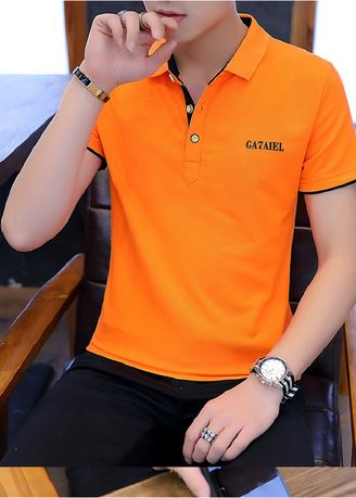 Orange color T-Shirts and Polos . Solid Colour Slim Fit T-Shirt -