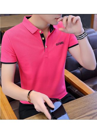 Pink color T-Shirts and Polos . Solid Colour Slim Fit T-Shirt -