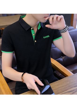 Multi color T-Shirts and Polos . Dark Coloured Solid Fitted T-Shirt -