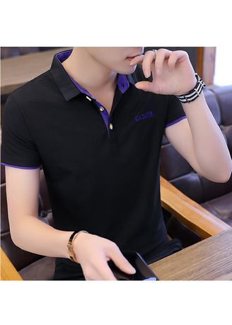 Blue color T-Shirts and Polos . Dark Coloured Solid Fitted T-Shirt -