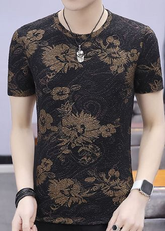 Black color T-Shirts and Polos . Everyday Wear Casual Printed T-Shirt -