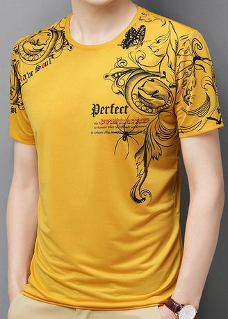 Yellow color T-Shirts and Polos . Gothic Print Casual T-Shirt -