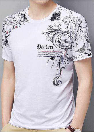 White color T-Shirts and Polos . Gothic Print Casual T-Shirt -