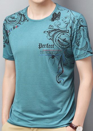 Light Blue color T-Shirts and Polos . Gothic Print Casual T-Shirt -