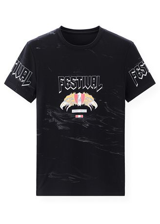 Black color T-Shirts and Polos . Eagle Design Printed T-Shirt -