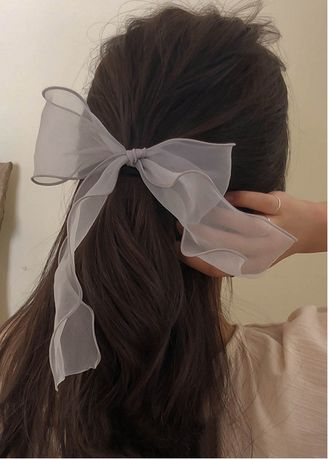 Grey color Hair Accessories . Pleated Bow Hairband -