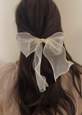 Beige color Hair Accessories . Pleated Bow Hairband -