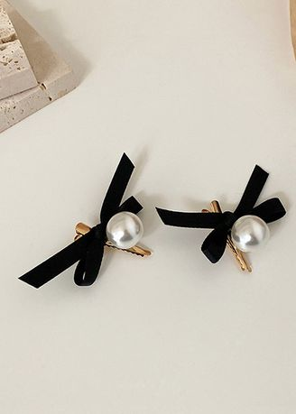 Black color Hair Accessories . Black Fabric Hairpin -