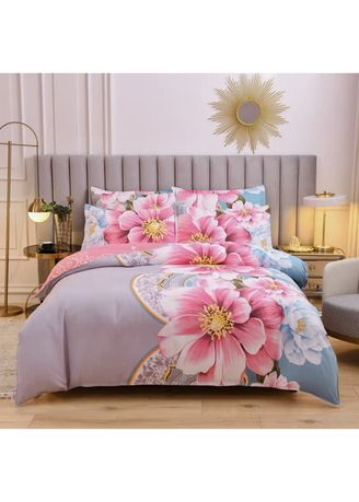 Multi color Bedroom . Floral Print Bed Sheet and Pillow Case Set -