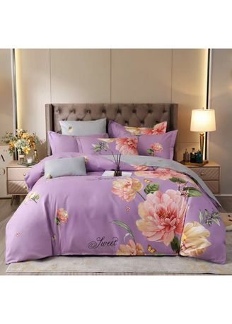 Purple color Bedroom . Sweet Bed Sheet and Pillow Case Set -