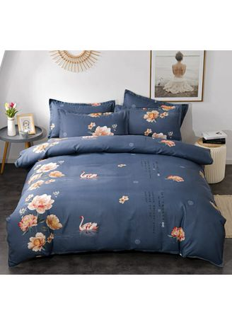 Navy color Bedroom . Swan & Floral Bed Sheet and Pillow Case Set -