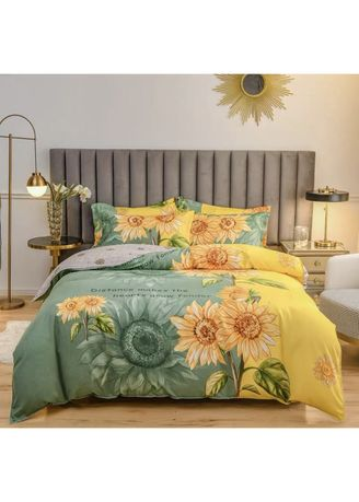 Multi color Bedroom . Sunflower Print Bed Sheet and Pillow Case Set -