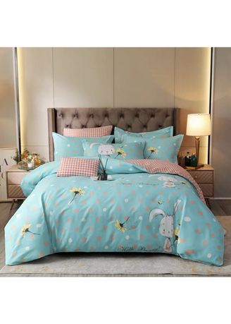 Light Blue color Bedroom . Hello Bunny Bed Sheet and Pillow Case Set -