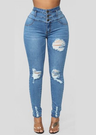 Blue color Jeans . High-Rise Distressed Skinny Fit Jeans -