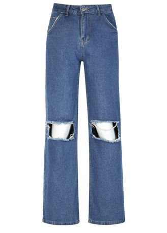 Blue color Jeans . Loose Ripped Baggy Jeans -