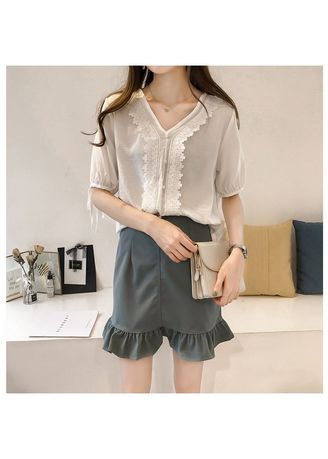 Beige color Tops and Tunics . V Neck Polyester Blouse -