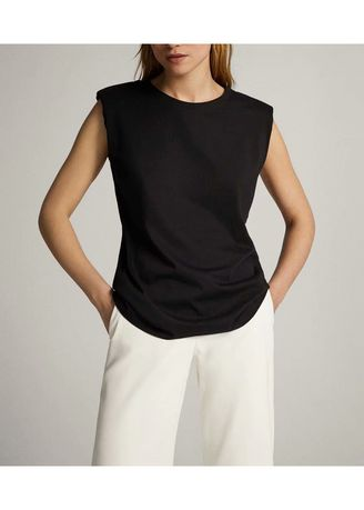 Black color Tops and Tunics . Round Neck Polyester Solid Tops -