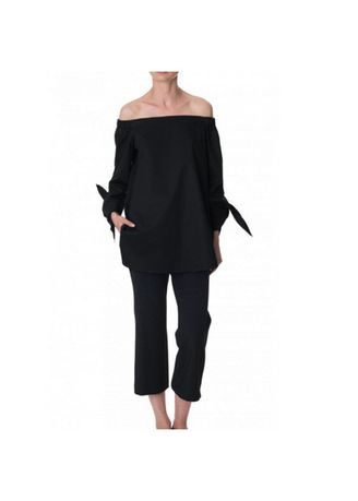 Black color Tops and Tunics . Off-Shoulder Polyester Solid Blouses -