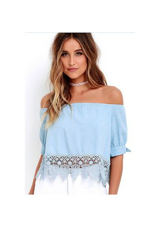 Light Blue color Tops and Tunics . Off-shoulder Lace Finish Tops -