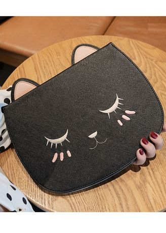 Black color Cases & Covers . Kitty iPad Case -