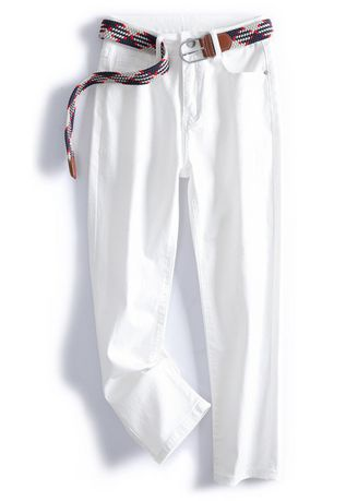 White color Jeans . Classic Stretchable Jeans With Belt -