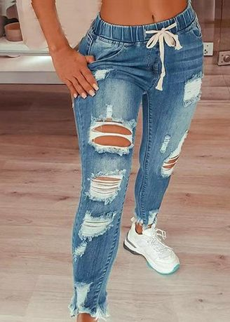 Light Blue color Jeans . Ankle Length Ripped Jeans -