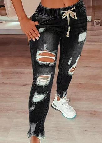 Black color Jeans . Ankle Length Ripped Jeans -