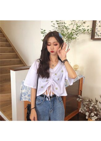 White color Tops and Tunics . Floral Embroidery Knotted Tops -