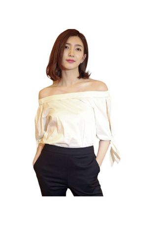 White color Tops and Tunics . Off-shoulder Solid Tops -