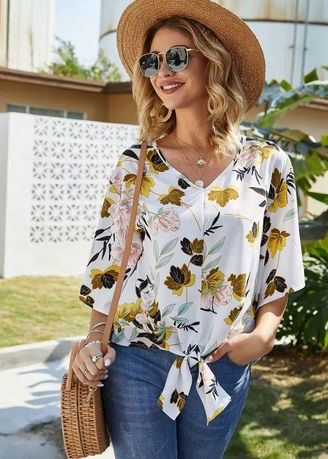 White color Tops and Tunics . Leaf Printed Casual wear Top -