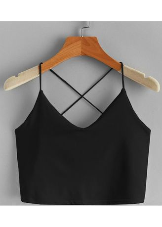 Black color Tops and Tunics . Stunning Sleeveless Crop tops -