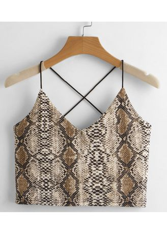Brown color Tops and Tunics . Printed Stunning Sleeveless Crop tops -
