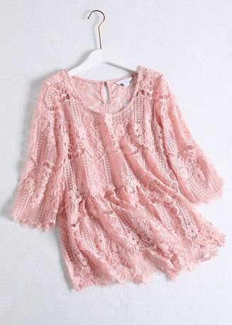 Pink color Tops and Tunics . Lace Design Pink Top -
