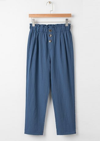 Blue color Trousers . Elastic High-Waist Trousers -