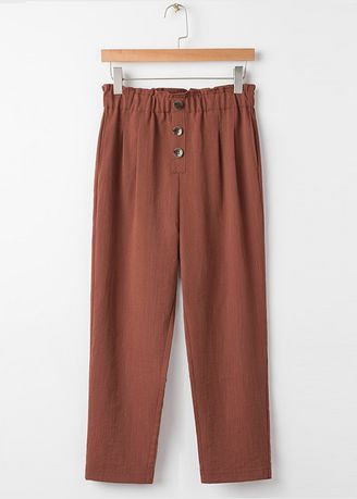 Brown color Trousers . Elastic High-Waist Trousers -