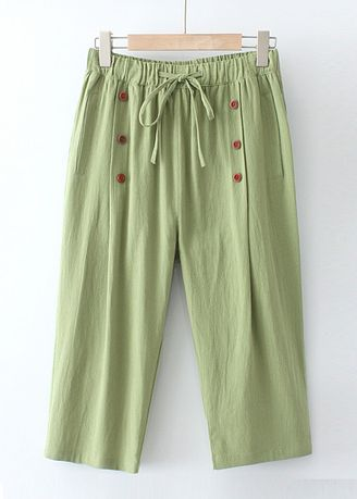 Green color Trousers . Cotton Wide Legged Pants -