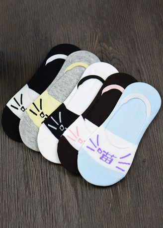 Meow Character Style color Socks . Ladies Candy Color Cartoon Silicone Non-slip Socks QWZ043 -