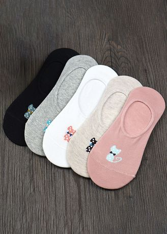 Bow Tie Cat Style color Socks . Ladies Candy Color Cartoon Silicone Non-slip Socks QWZ043 -