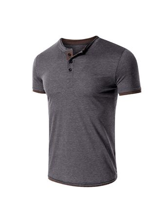 Grey color T-Shirts and Polos . Men's Casual Sports Solid Color T-shirt -