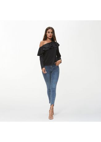 Black color Tops and Tunics . Stylish Off-Shoulder Flared Neck Solid Tops -