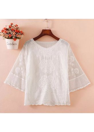 White color Tops and Tunics . White Rose Embroidered Blouse -