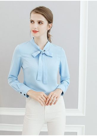 Light Blue color Tops and Tunics . Knot Design Neck Solid Tops -