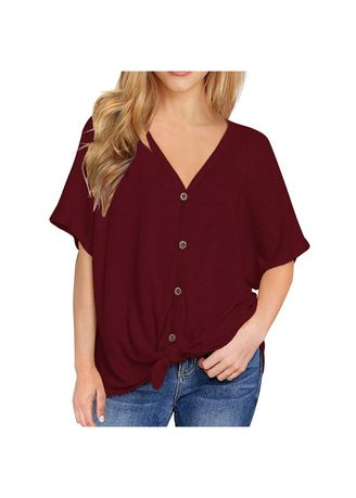 Maroon color Tops and Tunics . Casual V Neck Blouse With Button -