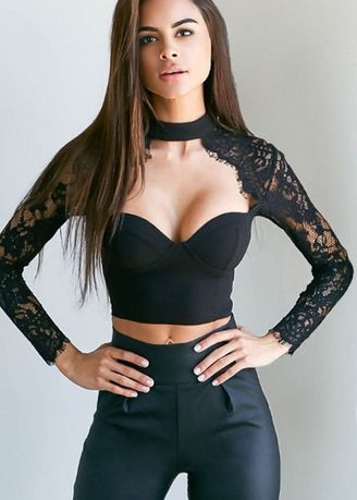 Black color Tops and Tunics . Lace Design Party Bustier -