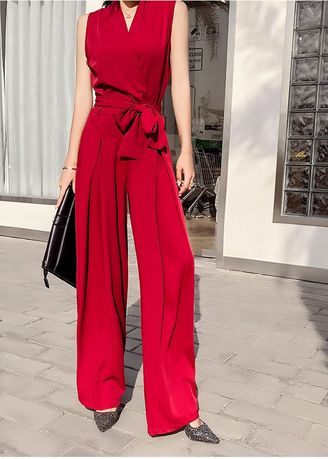 Red color Jump Suits . Bow Tie One-Piece High Waist Wide Leg Jumpsuit -