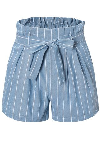 Light Blue color Shorts . Tie Up Casual Striped Shorts -