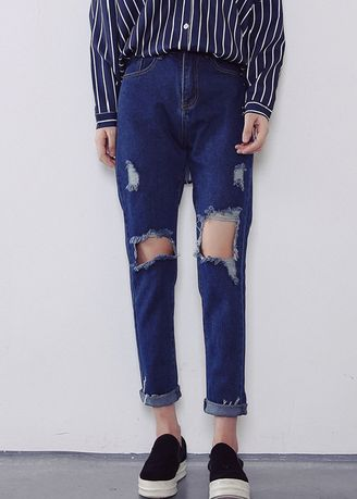 Blue color Jeans . Cut Out Relaxed Fit Jeans -